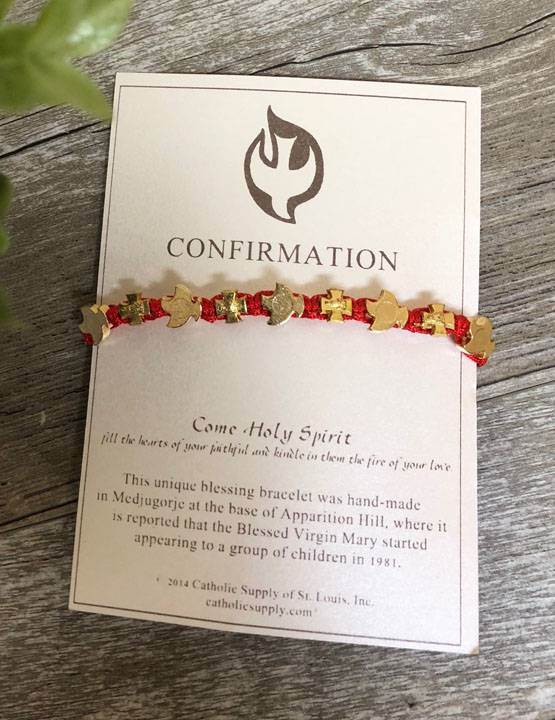 Carded Red Confirmation Bracelet from Medjugorje - 04712