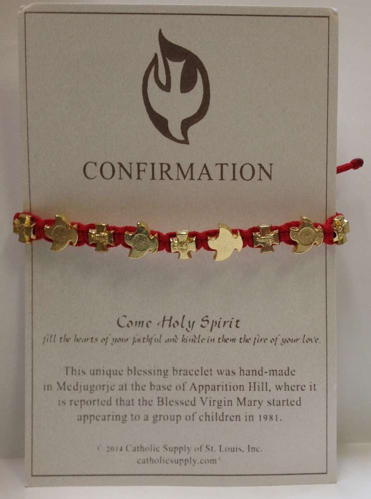 Carded Red Confirmation Bracelet from Medjugorje