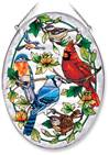 "Cardinal and Bluebird 9"" Glass Suncatcher"