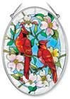 "Cardinal and Dogwood 7"" Glass Suncatcher"