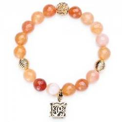 Carnelian Agate & Quartz Prayer Box Bracelet