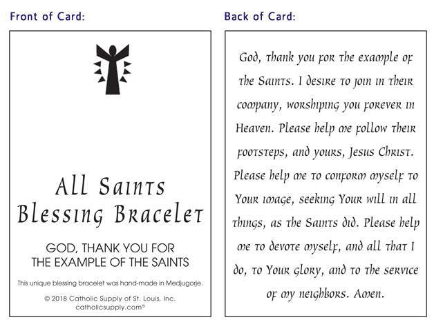 Catholic Saints Blessing Bracelet with Story Card - 111619