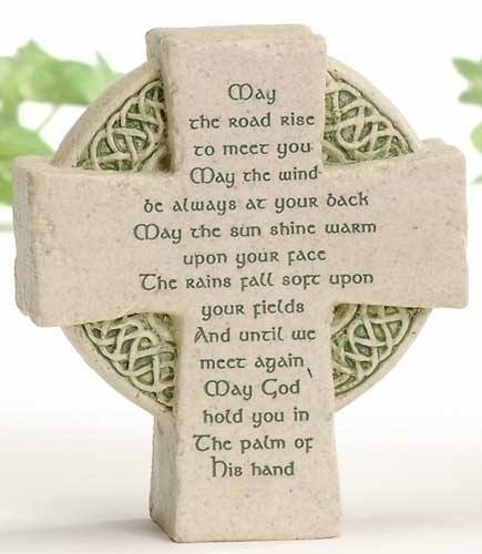 Celtic Cross Desk Plaque 47267, cement plaque, stand, hook, home decor, desk decor, irish gift, new home gift, wedding gift,