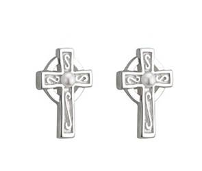 Celtic Cross Earrings With Glass Pearl