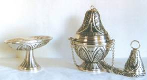 Censer And Boat Set Silver Plate Made In Italy