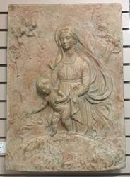 "Ceramic Panel Madonna & Child, Made In Italy, 27""x 16"""