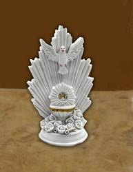 "Resin Holy Spirit Chalice First Communion cake topper, 3 1/2 "", boxed."