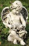 Cherub with Kitten Statue