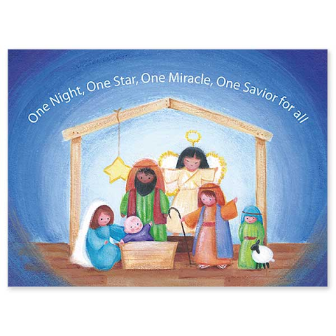 "One Night, One Star Children's Nativity Boxed Christmas Card Inside Reads: ""As we gather to bring the story of Christmas to life once more, let every heart, near and far, feel the peace and wonder of that first Holy night.  Merry Christmas."" Box of 20 4.5"""