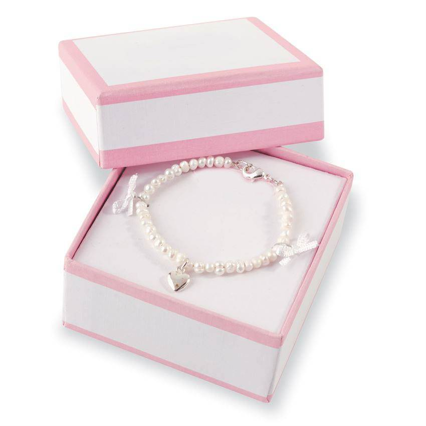 Childs Pearl Bracelet With Heart Charm