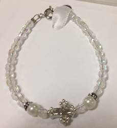 Childs Crystal and Pearl Bracelet with Cross