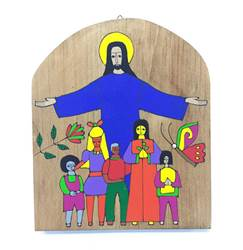 Christ with Children Wood Wall Plaque from El Salvador