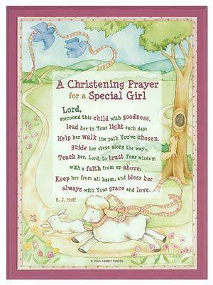 a christening prayer for a baby girl wall plaque