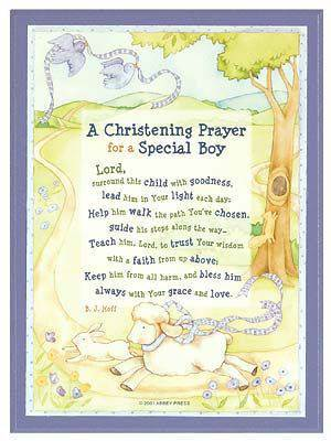 a christening prayer for a baby boy wall plaque