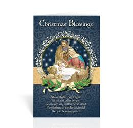 Christmas Blessings-Holy Family Greeting Card. Sold in packs of 10. Greeting cards feature gold embossing. Envelopes included.