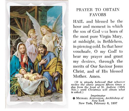 Christmas Novena Prayer to Obtain Favors, Box of 100 Paper Prayer Cards