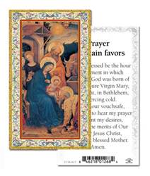 "Christmas Novena Prayer to Obtain Favors, Box of 100 Paper Prayer Cards 2""x4"" Gold Embossed Italian Holy Card with Prayer 100 Per Pack"