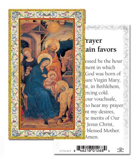 Christmas Novena Prayer to Obtain Favors, Box of 100 Gold Embossed ...