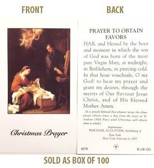 Christmas Novena 'Prayer to Obtain Favors' Paper Prayer Cards, Box of 100