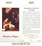 Christmas Novena Prayer to Obtain Favors Paper Prayer Cards, Box of 100