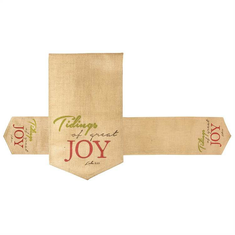 CHRISTMAS TABLE RUNNER ?TIDINGS OF GREAT JOY, Cotton Canvas - 12 inches by 72 inches - Wipe with Dry Cloth