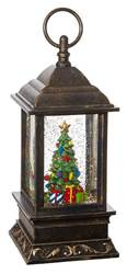 Christmas Tree Lighted Water Lantern 9.5""