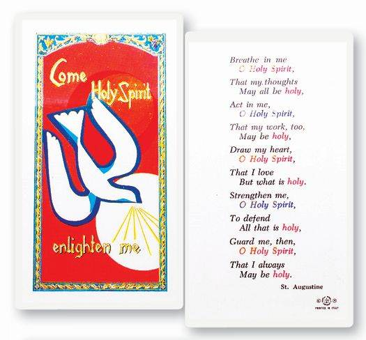 Holy Spirit Enlighten  Clear, laminated Italian holy cards with Gold Accents. Features World Famous Fratelli-Bonella Artwork. 2.5'' x 4.5''