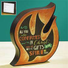 Confirmation Shaped Wood Desk Plaque