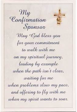 Confirmation Sponser Lapel Pin and Prayer Card