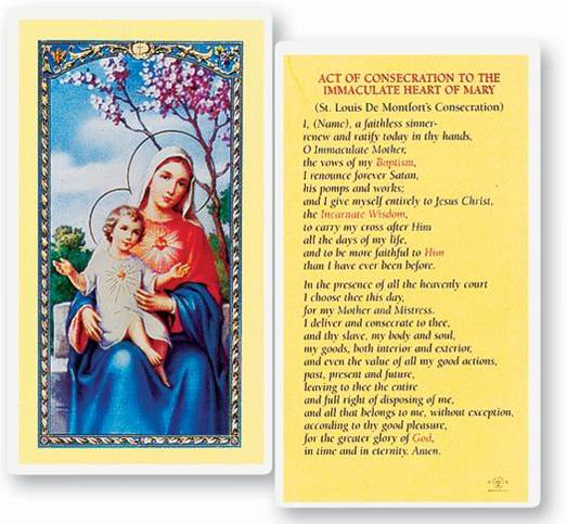 Consecration To The Immaculate Heart Of Mary Laminated Holy Card