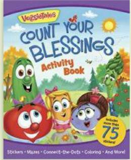 Count Your Blessings Activity Book board book, kids book, religious book, veggietales, activity book, childrens book, childrens gift, book gift, stickers, 978-0-8249-5675-2
