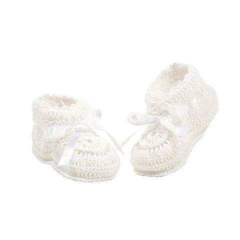 Crocheted White Baby Booties