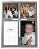 Cross 4-Opening 2-Tone Picture Frame, Silver