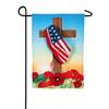 Cross with American Flag Garden Flag
