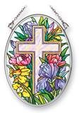 "Cross with Flowers 4.5"" Glass Suncatcher"