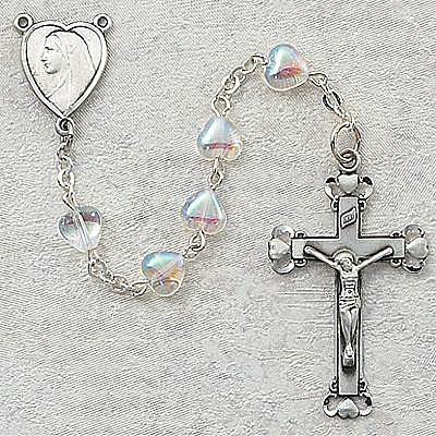Crystal Heart Aurora Borealis Rosary rosary aurora borialis, crystal heart, 921D/F, pewter crucifix, pewter center, sacramental gift, first communion rosary, sacramental rosary,