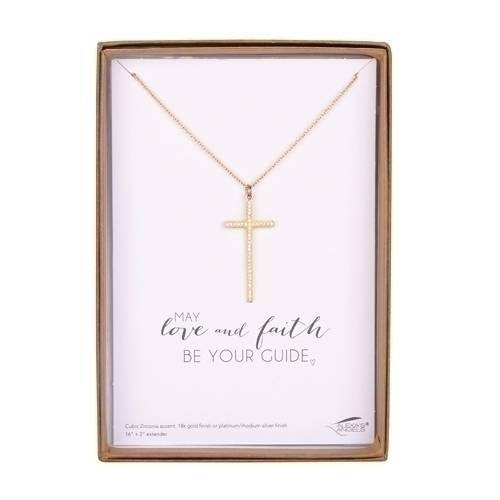 Cubic Zirconia Gold Pave Cross Necklace