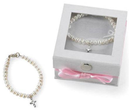 Cultured Pearl Bracelet with Cross Charm