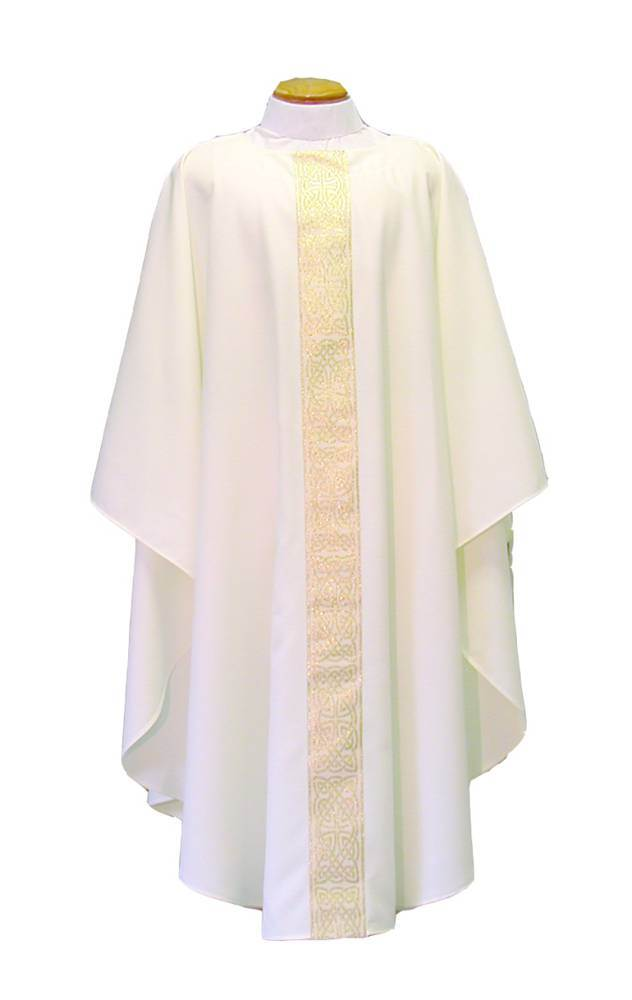 D955 White Dalmatic W/ Band On Front And Back
