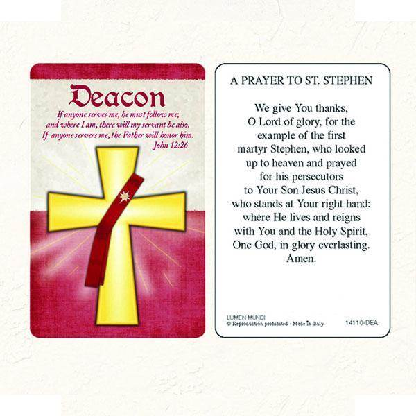 Deacon Laminated Prayer Card. Made in Italy.