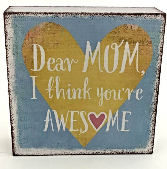 Dear Mom I think You're Awesome Wall Block