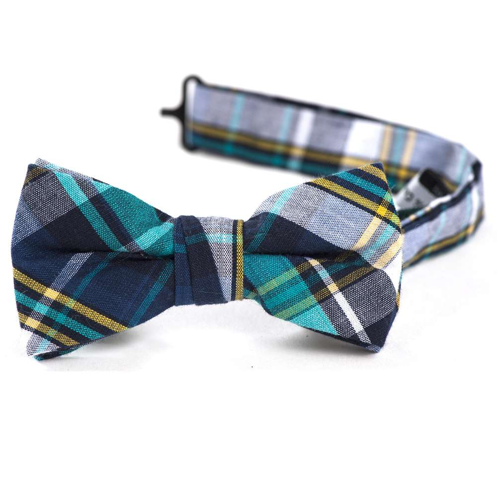 Teal & Navy Plaid Bow Tie
