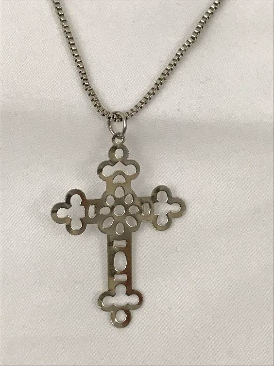 Die-Cut Flower Cross Necklace