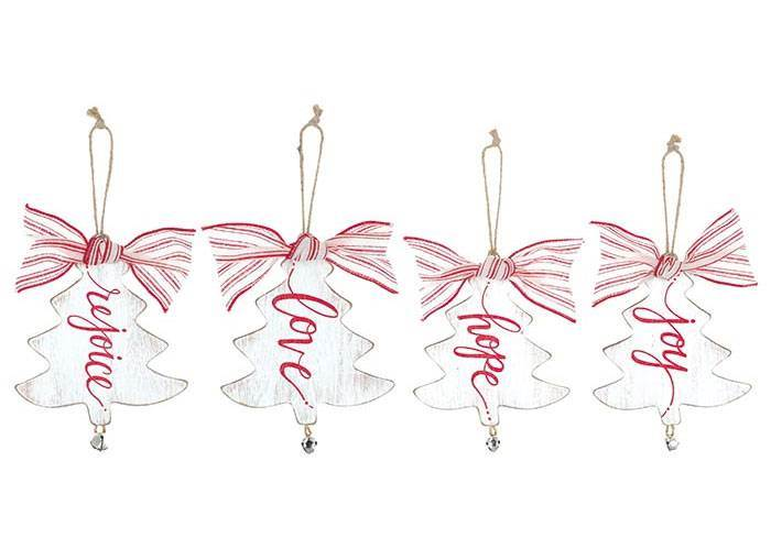 Distressed White Christmas Tree Ornaments, Sold Each