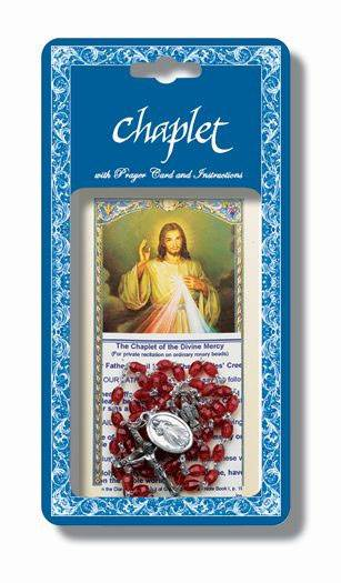 Divine Mercy Chaplet Oval Red Bead Rosary, Lam Hc Instructional Pamphlet
