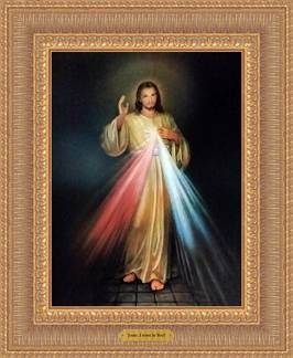 "Divine Mercy Framed Canvas 11"" x 18"" Over-all"