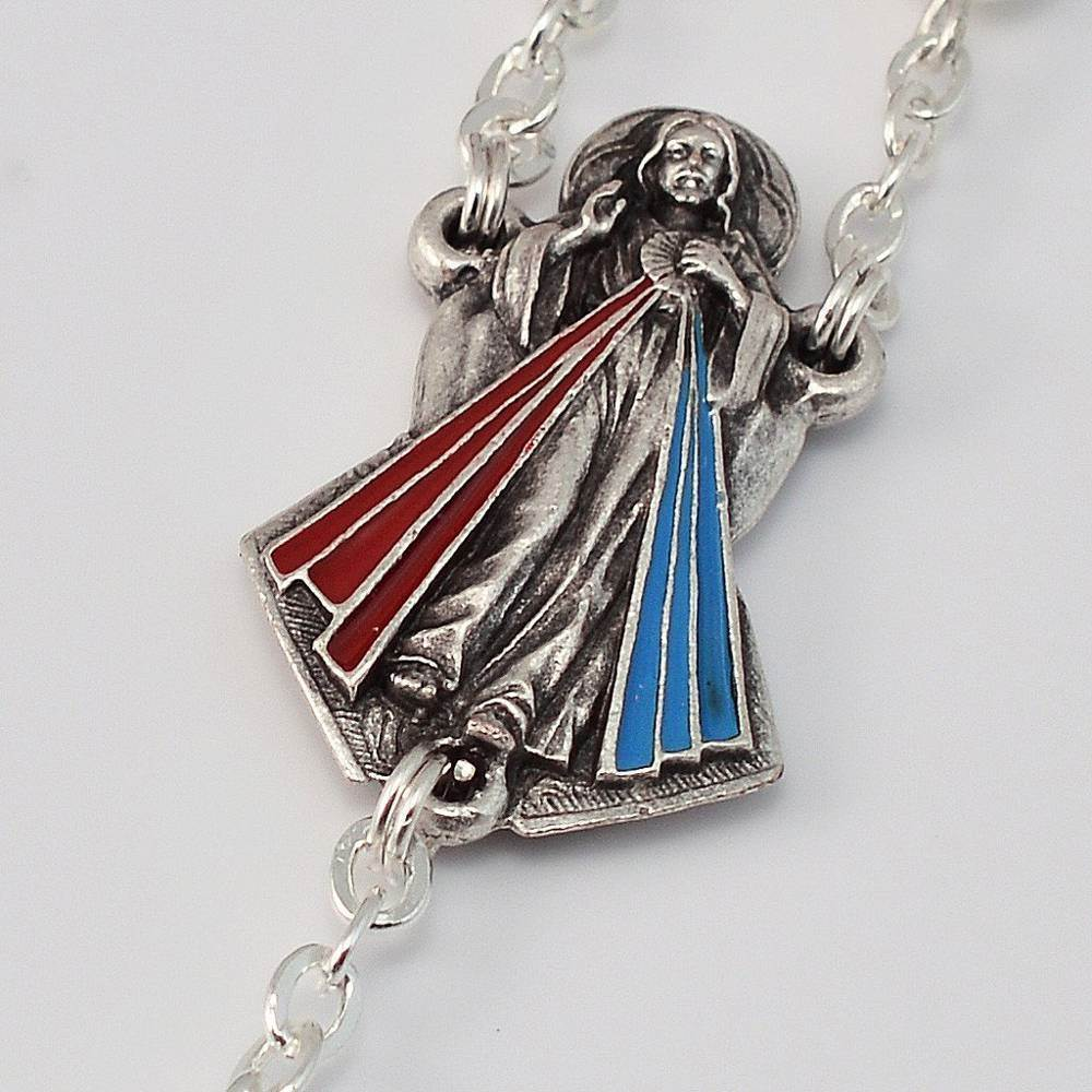 Divine Mercy Silver Plated Rosary