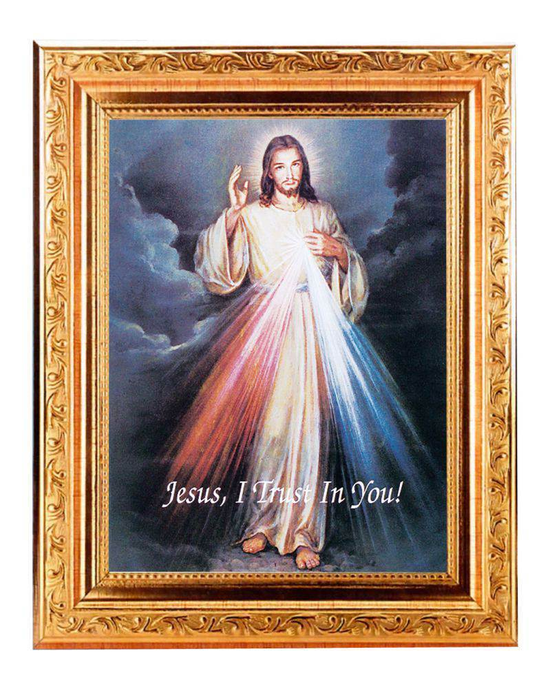 "Divine Mercy in Detailed Antique Gold Frame, 8.25"" x 10.25"""