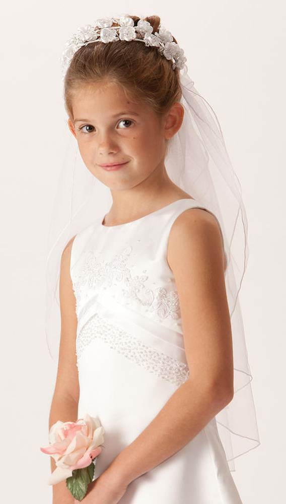 Double Floral Wreath First Communion Veil *WHILE SUPPLIES LAST*