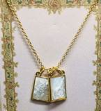"Double Scapular Necklace 18"" Gold with 2"" Extender - carded"